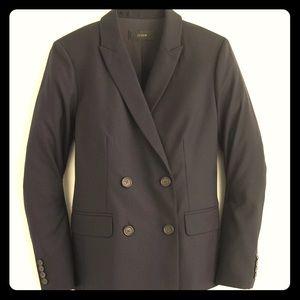 J.Crew Tall Black Double-Breasted Wool Blazer - 10